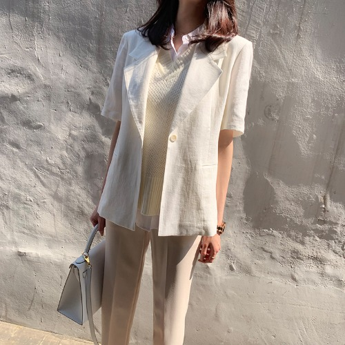 Celi# daily linen short sleeve jacket